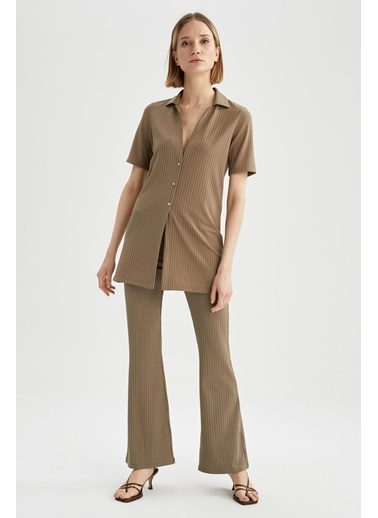DeFacto Gömlek Tasarımlı V Yaka Yarım Kollu Uzun Hırka Yeşil